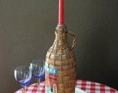 vintage wicker wrapped wine bottle Greek demijohn for candle holder
