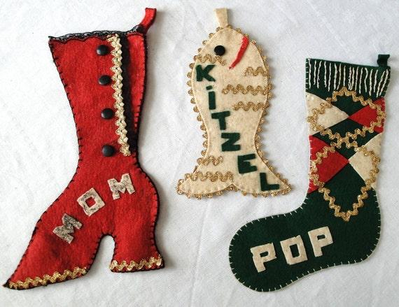 3 Vintage 50s Christmas Stockings Mom, Pop, & Kitzell the Cat
