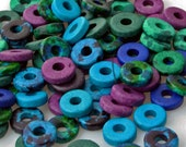 100 DEEP SEA DIVER Color Mix - Greek Matte Ceramic 8mm Washer Shaped Beads - Large Holed Bead