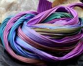 Hand Dyed Shibori Silk Ribbon Purple Passion Borealis Shibori Girl