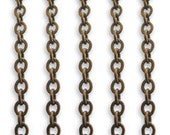 Vintaj 2 feet of 3mm Flat Wire Cable Link Chain in Brass