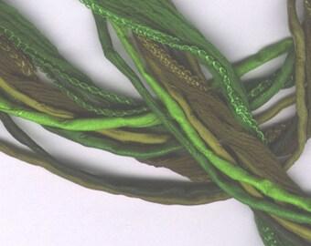 Green Mix - Silk Cord and Fairy Ribbon