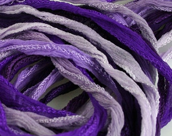 Purple Silk Fairy Ribbon Hand Dyed Pick your Colors