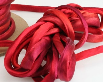 "1/4"" Silk Cord 3 yds Hand Dyed Hot Flash Red"
