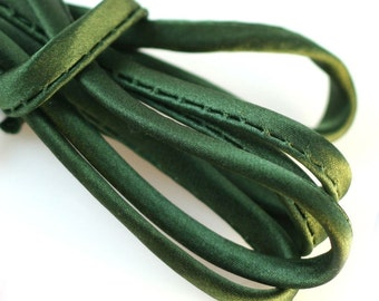 "1/4"" Silk Cord 3 yds - Hand Dyed Dark Green Bias Cord"