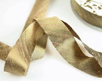 Silk Ribbon Bias Cut Dupioni Mica Bronze 3/4 inch 3 yds