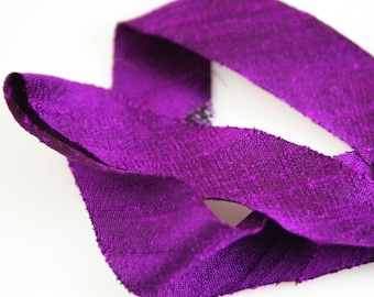 Silk Ribbon Bias Cut Dupioni Purple 3/4 inch 3 yds Silk Necklace Cord