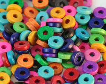 Ceramic Washer Beads 100 BRIGHT Color Mix 8mm Greek Ceramic Beads