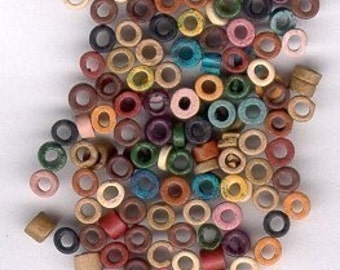 150 3-4mm Washer Shaped Beads, Earth-tone Color Mix - Greek Matte Ceramic - Large Holed Bead