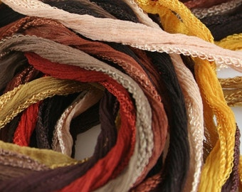 5 pcs Pick Your Colors Hand Dyed Silk Ribbons Choose From Brown Tan Rust Silk Fairy Ribbon