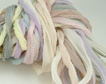 10 ea Light Tones of Fairy Ribbon Hand Dyed Necklace Cord Silk Neck Cord