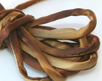 """1/4"""" Amber Silk Satin Cord 3 yds Hand Dyed Charmeuse"""