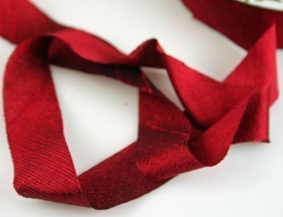 Silk Ribbon Bias Cut Dupioni Dark Red 3/4 inch 3 yds Silk Necklace Cord