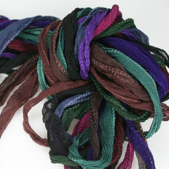 10 ea Deep Tones of Fairy Ribbon Hand Dyed Necklace Cord Silk Neck Cord