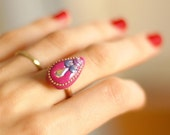 Ring - Whimsical Pink Teardrop Adjustable Ring - Fuchsia Indian Style Swarovski Crystal - Polymer Clay Jewelry - Fun Jewelry - Gift for her