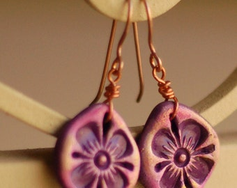 Pink Teardrop Earrings, Flower Earrings, Floral Earrings, Dangle Earrings, Purple Earrings, Gift for her, Holiday Gift, Polymer Clay Jewelry