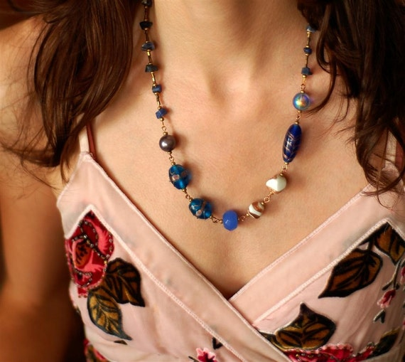 Something Blue Eclectic Assemblage Necklace