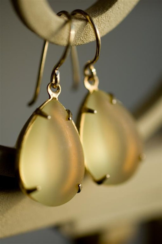 Dangle Earrings - Yellow Teardrops Vintage Frosted Lemon West German Glass Cabachon Drops