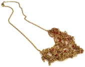 Unique Knit by Hand Gold Chian Wire Peach Color Crystals Necklace- THE RACHEL NECKLACE