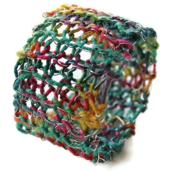 Knit Bracelet Cuff Fun Colorful Yarn Knit Jewelry Cuff - THE BOBBI CUFF