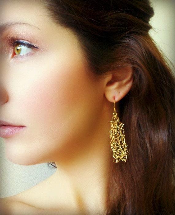 Dangle Earrings Hand Knit Gold Wire Woven -THE AIMEE EARRING