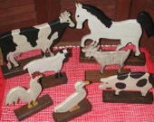 Primitive, Folk Art, Handcarved Farm Animals. 1982, Sussex Country Store, J.H. Henry