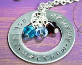 Single Large Washer Hand Stamped Necklace with Crystals