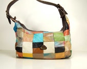 checkered pattern leather patchwork hobo / spring colors / made in Colombia