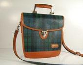 70s  Polo Bag Green Plaid Canvas Equestrian Satchel  /  short metal handle
