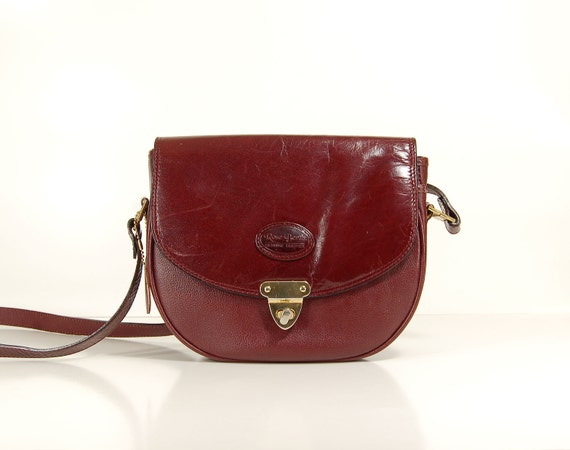 French Designer Red plum  leather cross body saddle bag