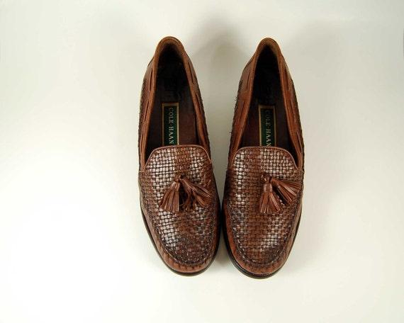 Vintage Cole Haan Kiltie Loafers /  Basket Weave Leather /  Fashion Designer Shoes 8.5-9