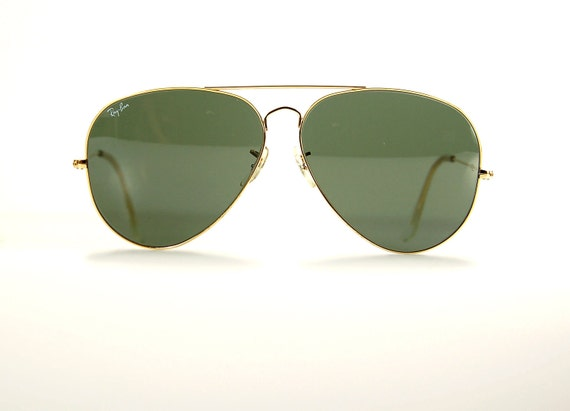 vintage ray ban  metal aviator 64 green tint