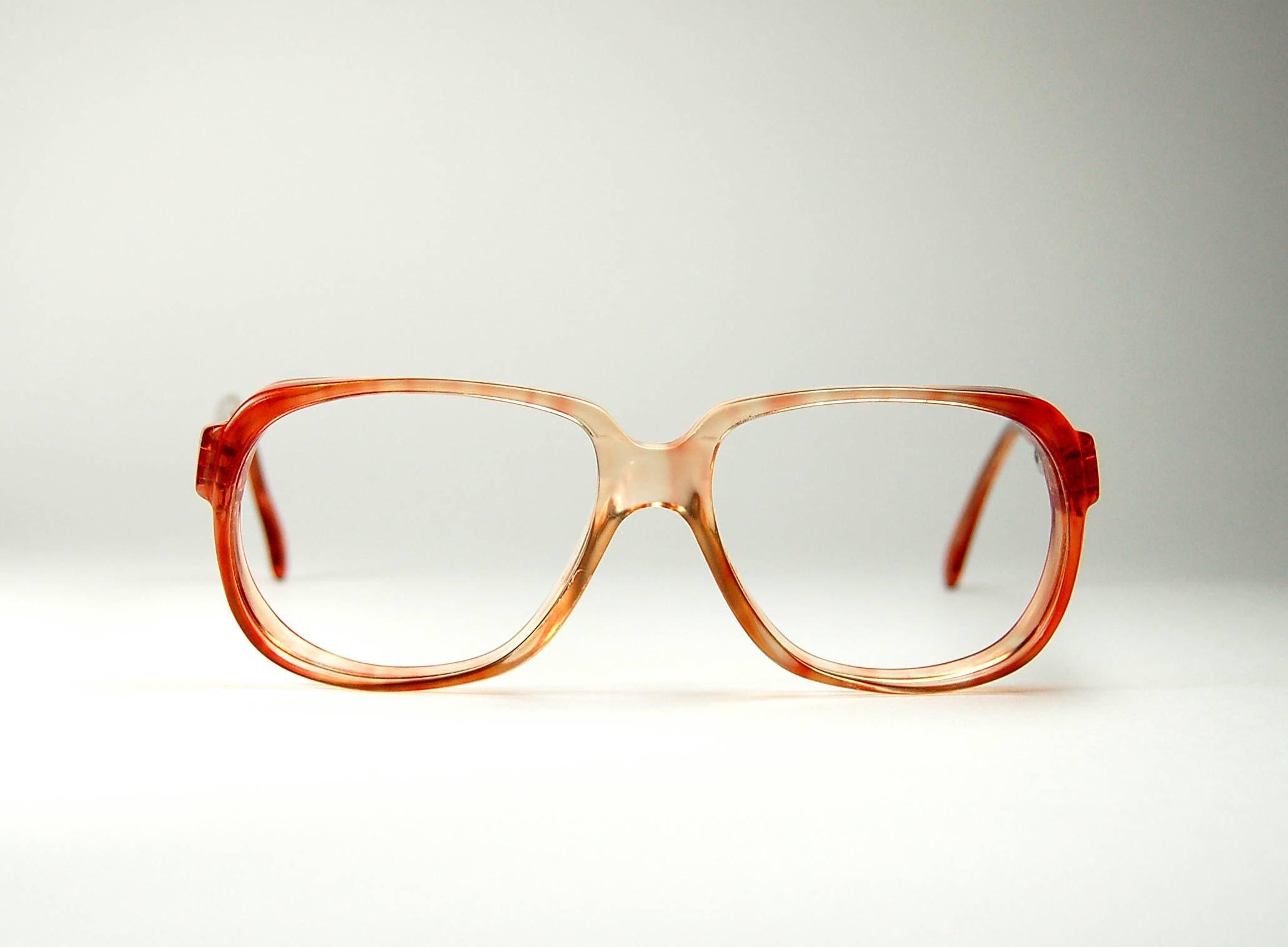 Eyeglass Frames Rectangular : Vintage 70s Rectangular Red Tortoise Eyeglass Frames made in