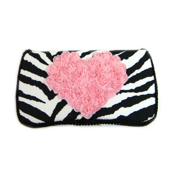 Black and white zebra animal print baby wipes case with baby pink chiffon heart