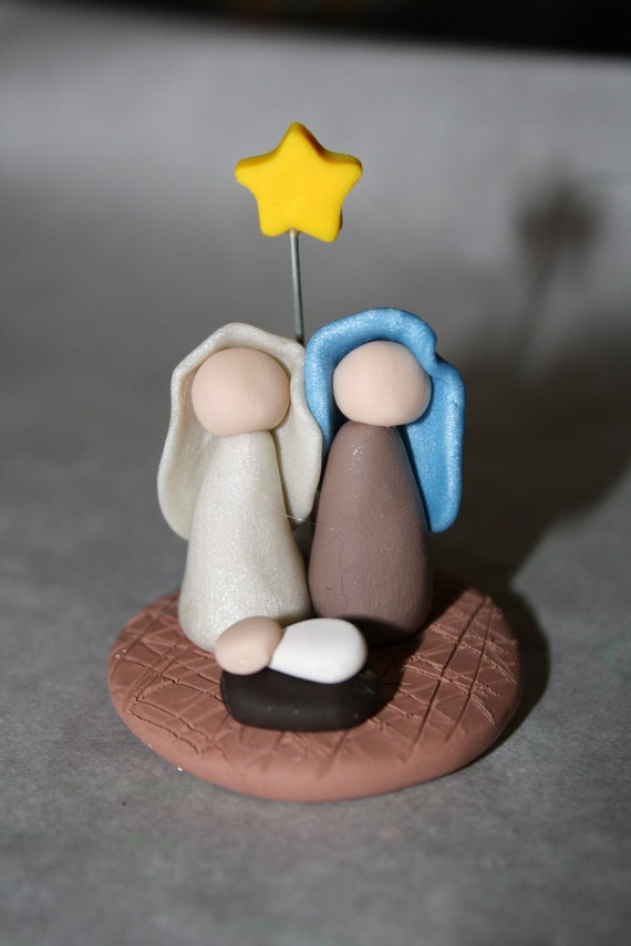Polymer clay nativity scene figurine - Belenes de navidad manualidades ...