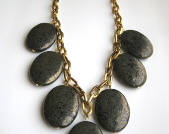 Golden Pyrite and Chain Statement Necklace