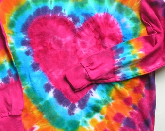 HEART T  shirt, tie dye hippie, heart, rainbow, long sleeve, short sleeve, heavy cotton, hand dyed, child, youth, adult, pink