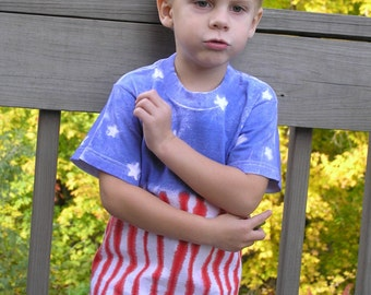 PATRIOTIC Tie Dye T Shirt, youth, adult, short sleeve, heavy cotton, hand dyed, red, white, blue, Memorial Day, 4th of July, stars, stripes