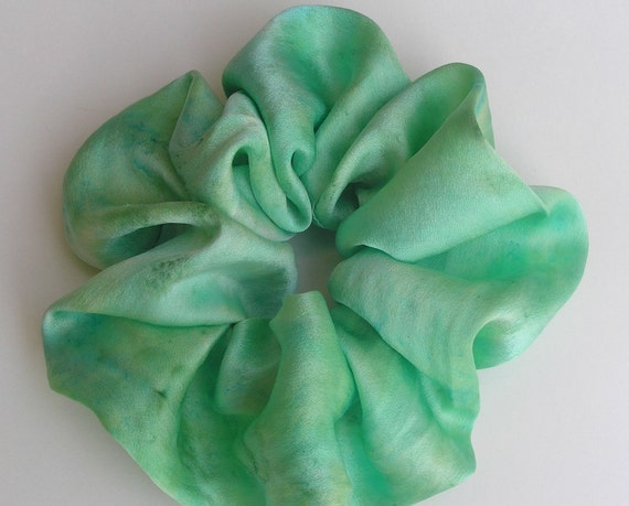 SILK Scrunchie, hand dyed, soft for hair, moss green, lime green,pale green, turquoise