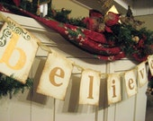 Christmas Decoration BELIEVE Holiday Banner Sign Garland