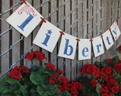 4th of July decoration LIBERTY banner swag garland photoprop