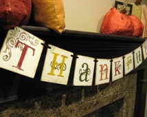 Thanksgiving Decoration THANKFUL Fall Banner hostess gift