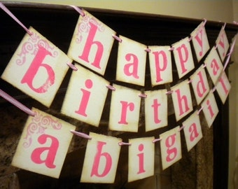HAPPY BIRTHDAY banner customized with NAME,sign, Triple Banner, Garland