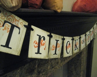 Halloween Decoration TRICK OR TREAT Banner, Garland, Sign