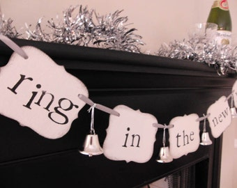 "new years party decorations ""ring in the new year"" sign banner garland"