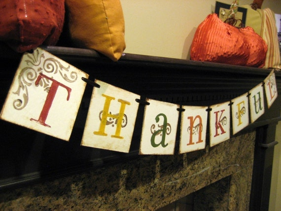 Thanksgiving Decoration THANKFUL Fall Banner hostess gift