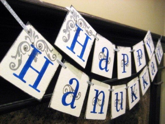 HAPPY HANUKKAH Banner sign garland decoration by Bekah ...