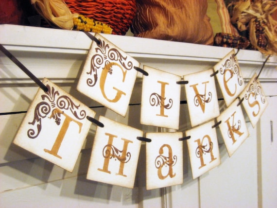 Priority Mail Ships Today GIVE THANKS Thanksgiving Fall Banner