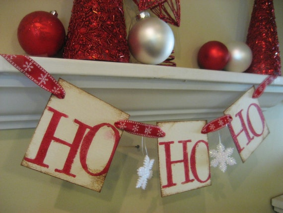 Christmas Decoration HO HO HO Santa Garland Banner