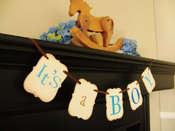 IT'S A BOY painted banner, babyshower, photoprop, decoration